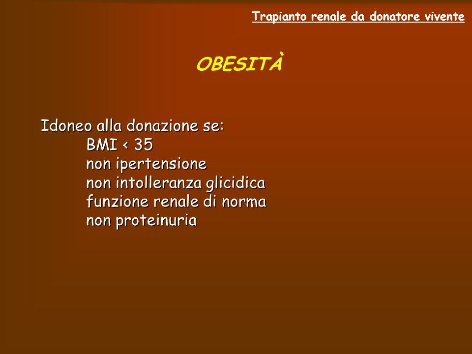 Trapianto renale da donatore vivente OBESITÀ Idoneo alla donazione se: BMI < 35 BMI < 35 non ipertensione non ipertensione non intolleranza glicidica non intolleranza glicidica funzione renale di norma funzione renale di norma non proteinuria non proteinuria
