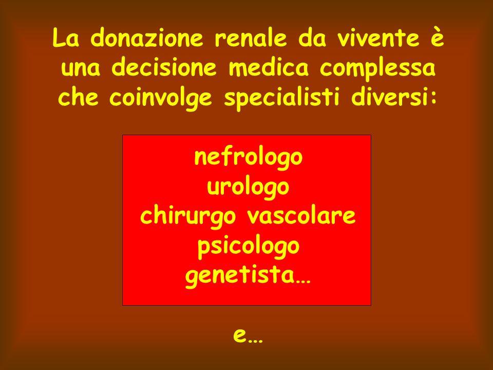 La donazione renale da vivente è una decisione medica complessa che coinvolge specialisti diversi: nefrologo urologo chirurgo vascolare psicologo genetista… e…