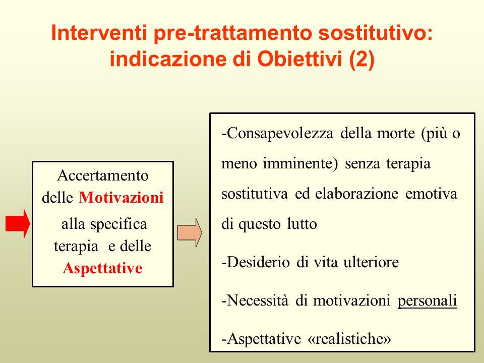 Interventi pre-trattamento sostitutivo: indicazione di Obiettivi (2) Accertamento delle Motivazioni alla specifica terapia e delle Aspettative -Consap