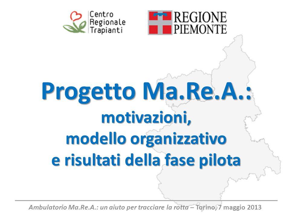 Progetto Ma.Re.A.: motivazioni, modello organizzativo e risultati della fase pilota Ambulatorio Ma.Re.A.: un aiuto per tracciare la rotta – Torino, 7 maggio 2013