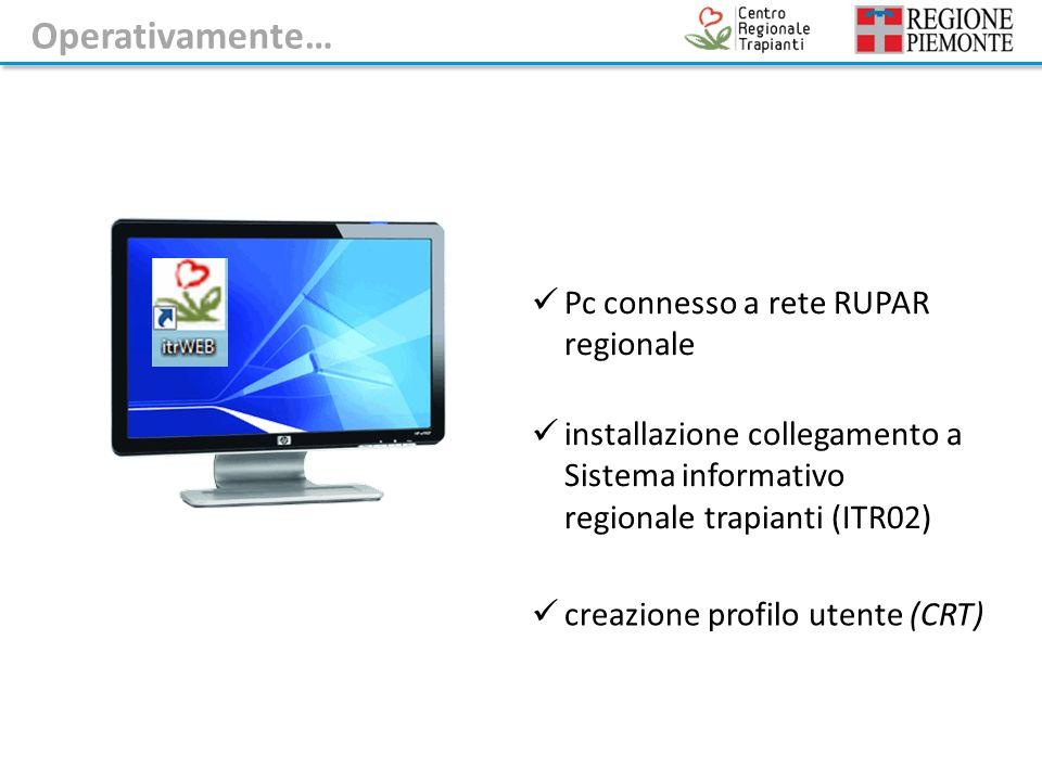Pc connesso a rete RUPAR regionale installazione collegamento a Sistema informativo regionale trapianti (ITR02) creazione profilo utente (CRT) Operativamente…