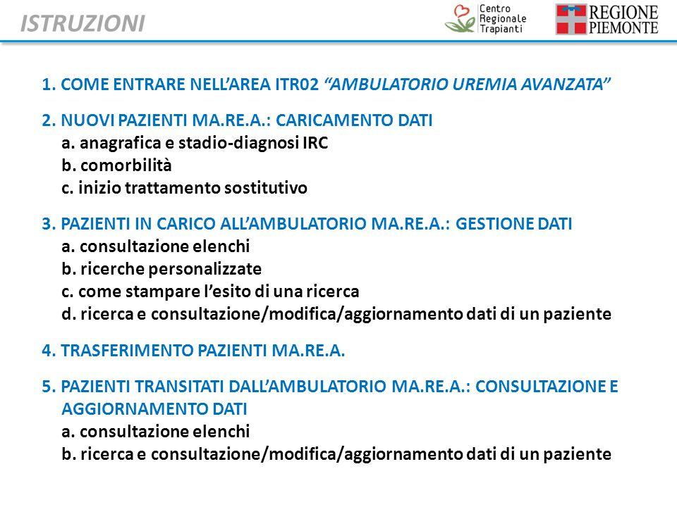 1. COME ENTRARE NELLAREA ITR02 AMBULATORIO UREMIA AVANZATA 2.