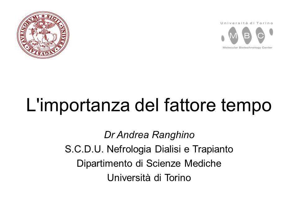 L'importanza del fattore tempo Dr Andrea Ranghino S.C.D.U. Nefrologia Dialisi e Trapianto Dipartimento di Scienze Mediche Università di Torino