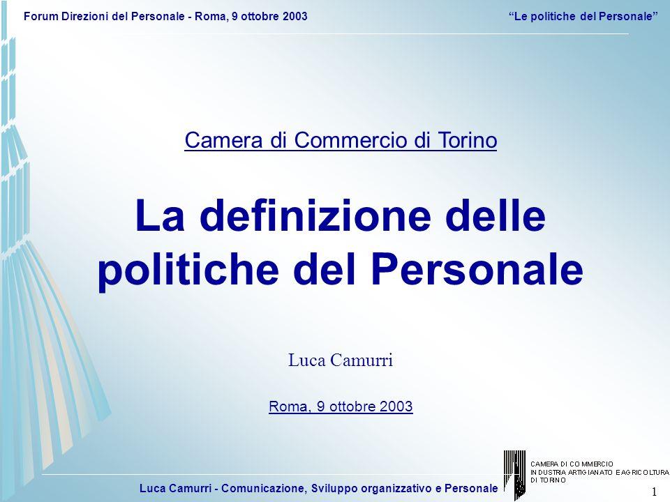 Luca Camurri - Comunicazione, Sviluppo organizzativo e Personale Forum Direzioni del Personale - Roma, 9 ottobre 2003Le politiche del Personale 42 NUOVI SERVIZI E PECULIARITA TORINO INFORMATIZZAZIONE SEMPLIFICAZIONE FIRMA DIGITALE, TORINO 2006 RIORGANIZZAZIONE COME GESTIRE: RUOLI, RESPONSABILITA, COINVOLGIMENTO 20022004 VALORIZZAZIONE DELLE PERSONE SCELTE STRATEGICHE E NUOVI SISTEMI PIANO STRATEGICO 2002-2004 E PROGETTO DI RIORGANIZZAZIONE