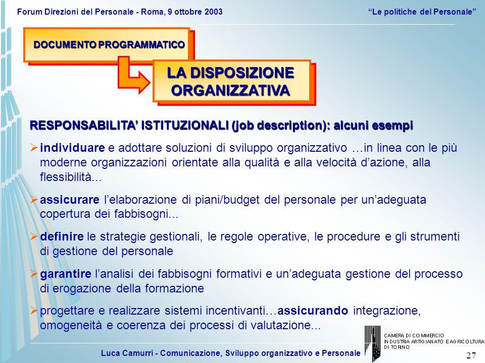 Luca Camurri - Comunicazione, Sviluppo organizzativo e Personale Forum Direzioni del Personale - Roma, 9 ottobre 2003Le politiche del Personale 27 DOC