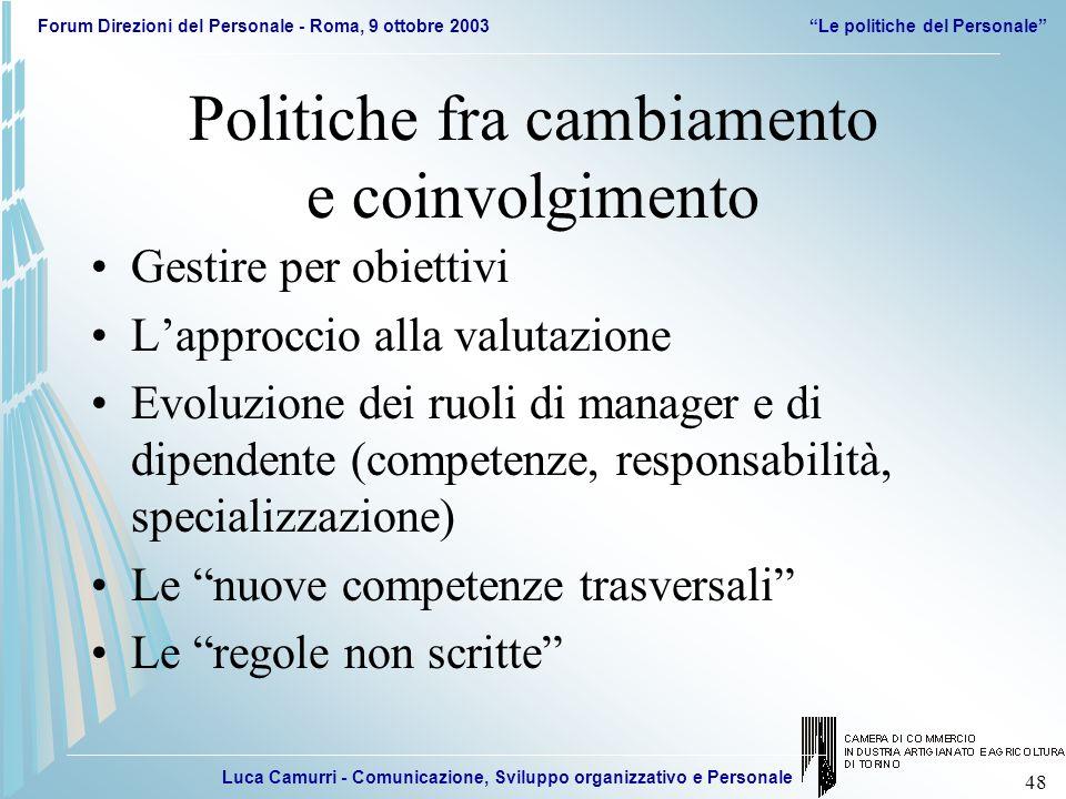 Luca Camurri - Comunicazione, Sviluppo organizzativo e Personale Forum Direzioni del Personale - Roma, 9 ottobre 2003Le politiche del Personale 48 Pol