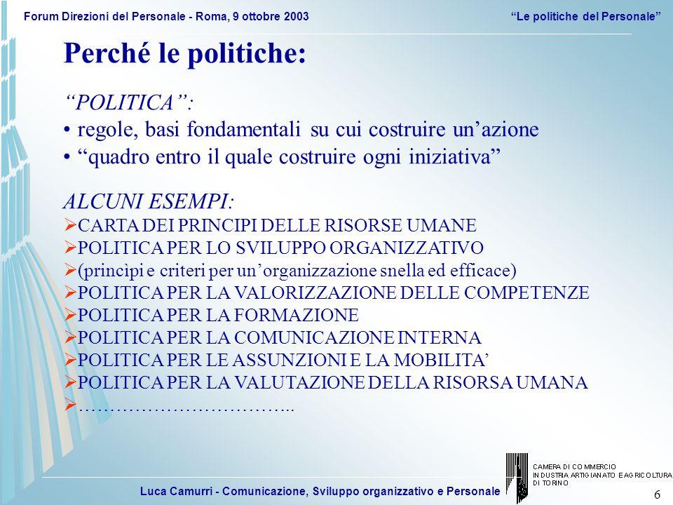 Luca Camurri - Comunicazione, Sviluppo organizzativo e Personale Forum Direzioni del Personale - Roma, 9 ottobre 2003Le politiche del Personale 77 IMPORTANZA DEL DISEGNO COMPLESSIVO (COERENZA, SISTEMA INTEGRATO ARTICOLATO…) RIGORE, ETICA E COERENZA IN FASE DI APPLICAZIONE (RUOLO DIREZIONE PERSONALE E DEL MANAGEMENT) Le politiche di gestione delle persone Spunti e riflessioni conclusive IMPORTANZA DELLA FORMALIZZAZIONE E DELLINDIRIZZO DI GIUNTA INVESTIMENTI IN FORMAZIONE, COINVOLGIMENTO E DIFFUSIONE