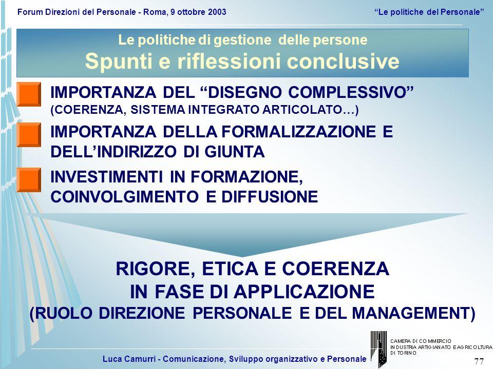 Luca Camurri - Comunicazione, Sviluppo organizzativo e Personale Forum Direzioni del Personale - Roma, 9 ottobre 2003Le politiche del Personale 77 IMP