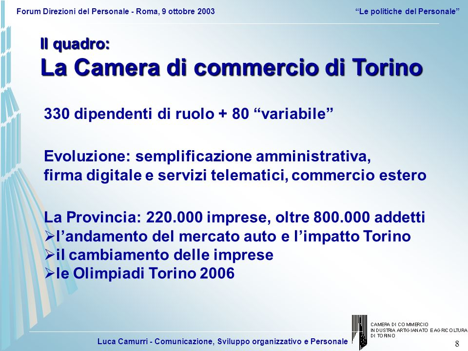 Luca Camurri - Comunicazione, Sviluppo organizzativo e Personale Forum Direzioni del Personale - Roma, 9 ottobre 2003Le politiche del Personale 39 MIGLIORARE IL CLIMA ORGANIZZATIVO E LA COMUNICAZIONE Riunioni, colloqui, coinvolgimento.
