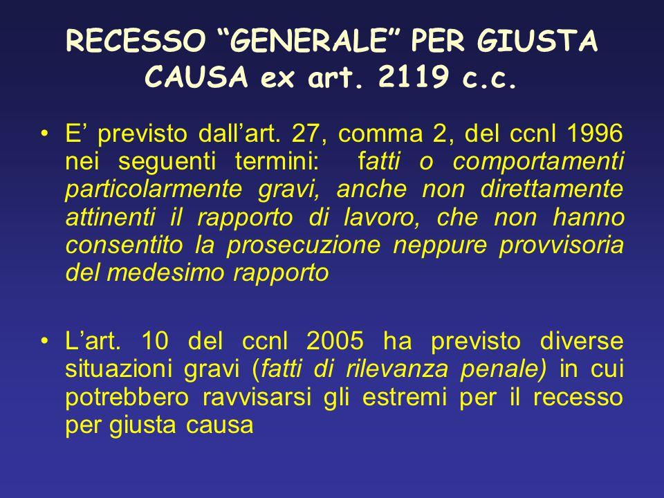 RECESSO GENERALE PER GIUSTA CAUSA ex art. 2119 c.c.