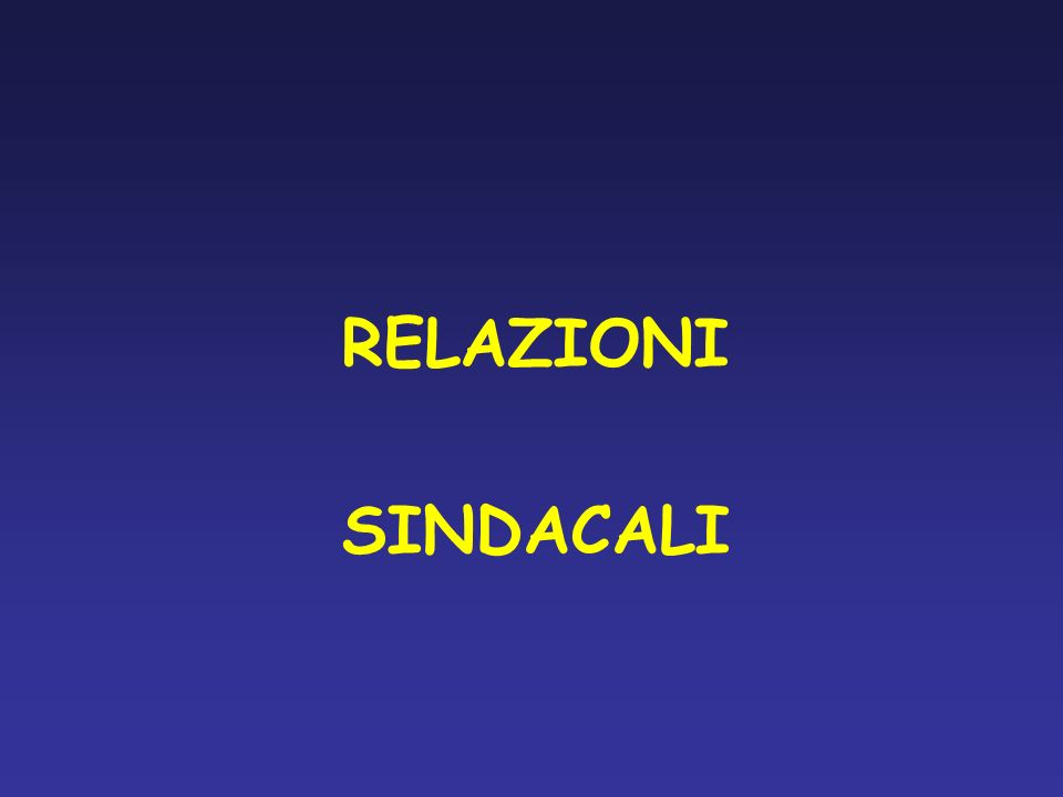 RELAZIONI SINDACALI