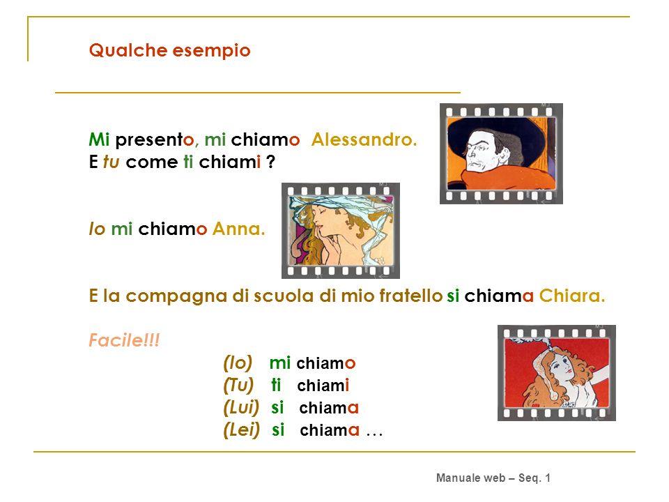 Qualche esempio Mi presento, mi chiamo Alessandro.