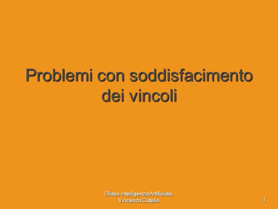 Slides Intelligenza Artificiale, Vincenzo Cutello 1 Problemi con soddisfacimento dei vincoli