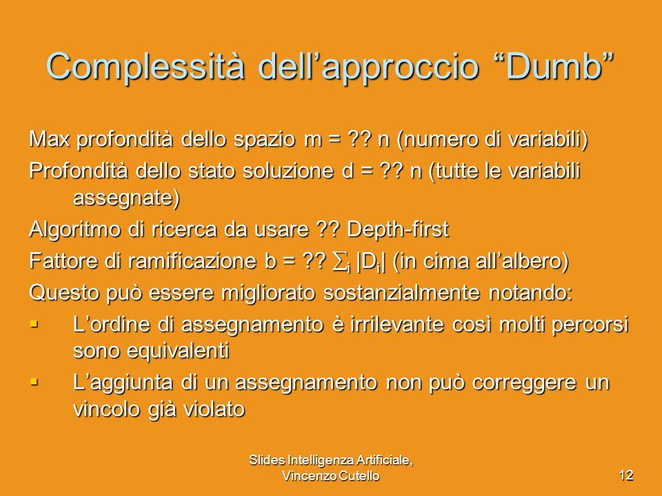 Slides Intelligenza Artificiale, Vincenzo Cutello12 Complessità dellapproccio Dumb Max profondità dello spazio m = ?? n (numero di variabili) Profondi