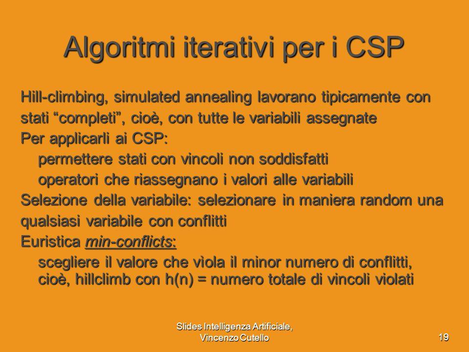 Slides Intelligenza Artificiale, Vincenzo Cutello19 Algoritmi iterativi per i CSP Hill-climbing, simulated annealing lavorano tipicamente con stati co