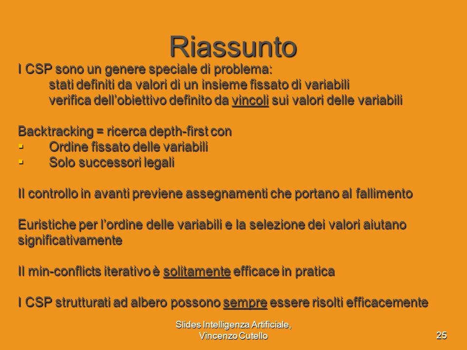 Slides Intelligenza Artificiale, Vincenzo Cutello25 Riassunto I CSP sono un genere speciale di problema: stati definiti da valori di un insieme fissat