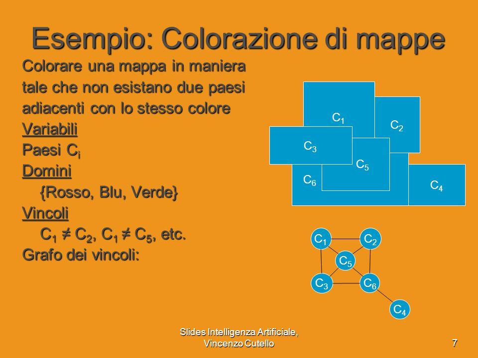 Slides Intelligenza Artificiale, Vincenzo Cutello18 Euristiche per i CSP Più decisioni intelligenti su quali valori scegliere per ogni variabile quali variabili scegliere per lassegnamento Dati C 1 = Rosso, C 2 = Verde ?.