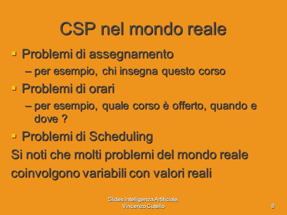 Slides Intelligenza Artificiale, Vincenzo Cutello8 CSP nel mondo reale Problemi di assegnamento Problemi di assegnamento –per esempio, chi insegna que