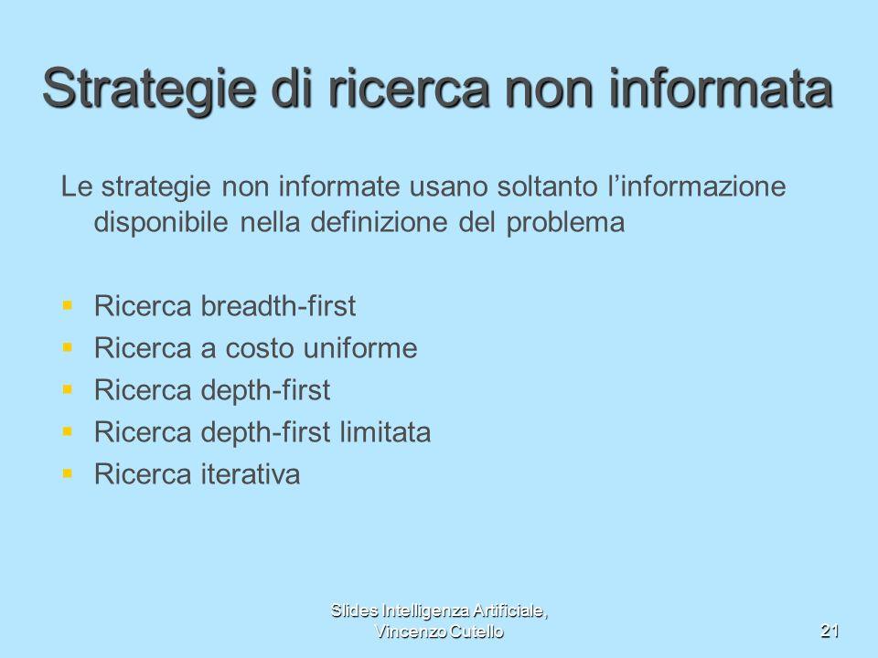 Slides Intelligenza Artificiale, Vincenzo Cutello21 Strategie di ricerca non informata Le strategie non informate usano soltanto linformazione disponi