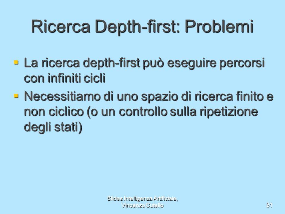 Slides Intelligenza Artificiale, Vincenzo Cutello31 La ricerca depth-first può eseguire percorsi con infiniti cicli La ricerca depth-first può eseguir