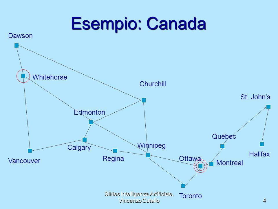Slides Intelligenza Artificiale, Vincenzo Cutello4 Esempio: Canada Montreal Edmonton Dawson Quèbec Vancouver Whitehorse Calgary Regina St. Johns Churc