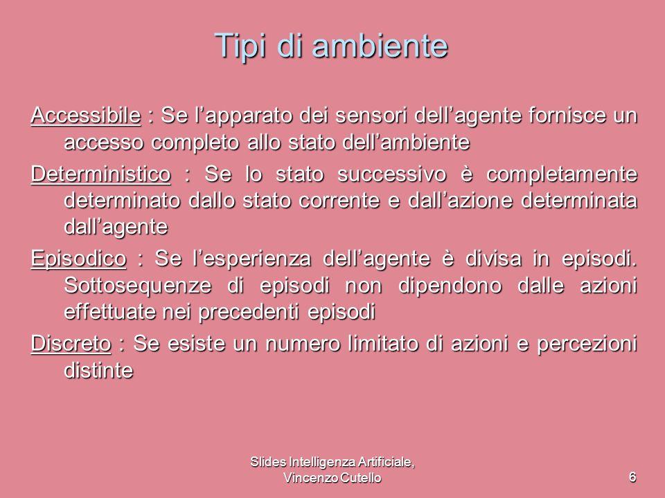 Slides Intelligenza Artificiale, Vincenzo Cutello7 Tipi di ambiente SolitarioBackgammonInternetshopperTaxi Accessibile ?.