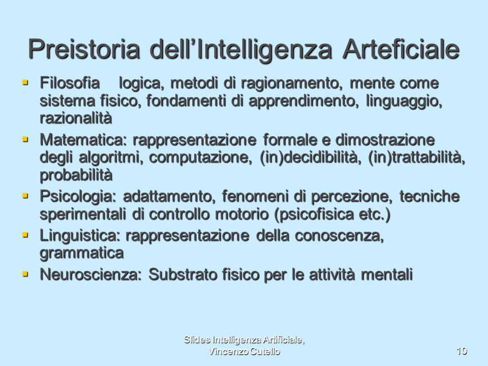 Slides Intelligenza Artificiale, Vincenzo Cutello10 Preistoria dellIntelligenza Arteficiale Filosofialogica, metodi di ragionamento, mente come sistem