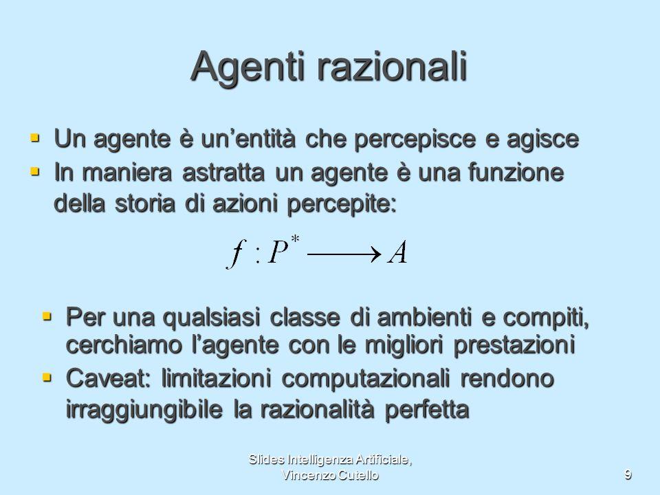 Slides Intelligenza Artificiale, Vincenzo Cutello9 Agenti razionali Un agente è unentità che percepisce e agisce Un agente è unentità che percepisce e