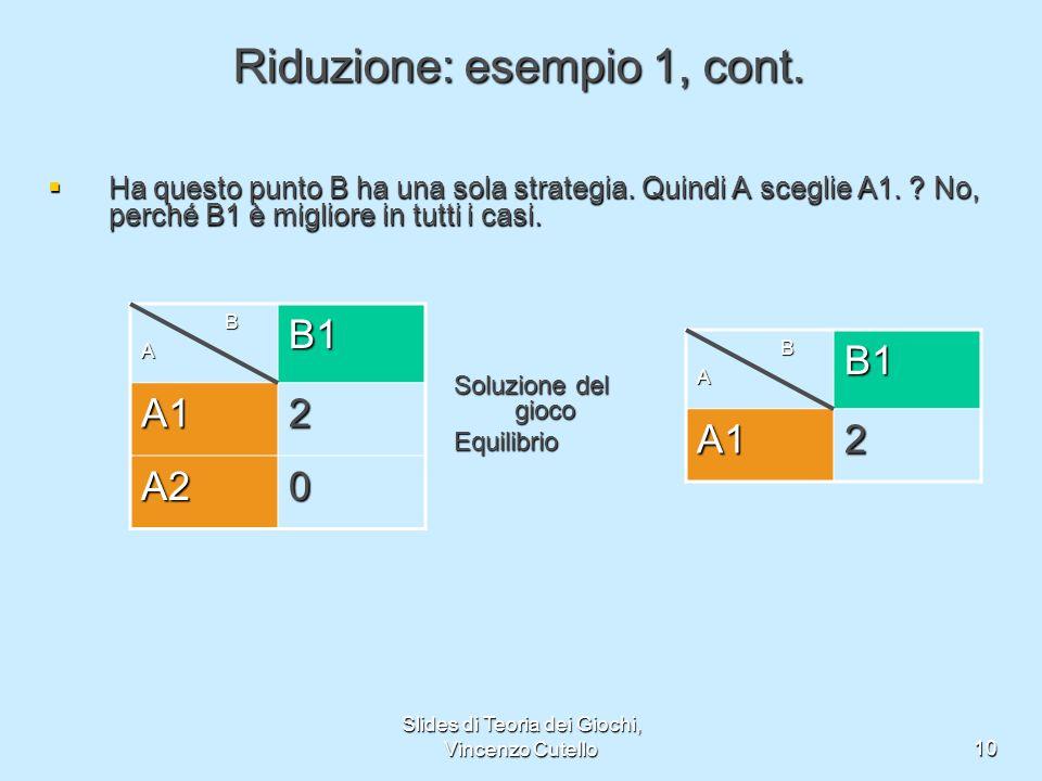 Slides di Teoria dei Giochi, Vincenzo Cutello10 Riduzione: esempio 1, cont. Ha questo punto B ha una sola strategia. Quindi A sceglie A1. ? No, perché