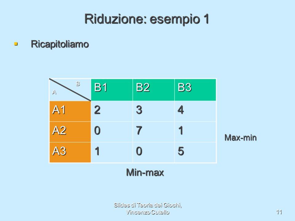 Slides di Teoria dei Giochi, Vincenzo Cutello11 Riduzione: esempio 1 Ricapitoliamo Ricapitoliamo BAB1B2B3 A1234 A2071 A3105 Max-min Min-max