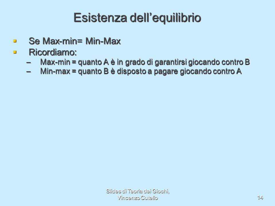 Slides di Teoria dei Giochi, Vincenzo Cutello14 Esistenza dellequilibrio Se Max-min= Min-Max Se Max-min= Min-Max Ricordiamo: Ricordiamo: –Max-min = qu
