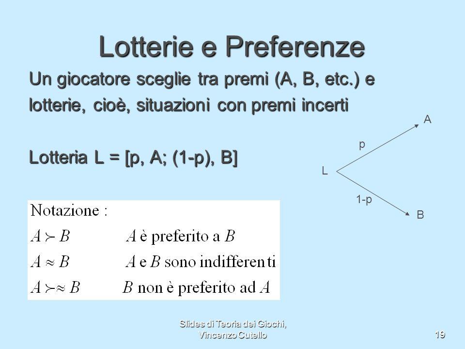 Slides di Teoria dei Giochi, Vincenzo Cutello19 Lotterie e Preferenze Un giocatore sceglie tra premi (A, B, etc.) e lotterie, cioè, situazioni con pre