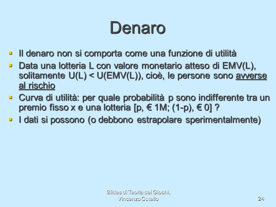 Slides di Teoria dei Giochi, Vincenzo Cutello24 Denaro Il denaro non si comporta come una funzione di utilità Il denaro non si comporta come una funzi