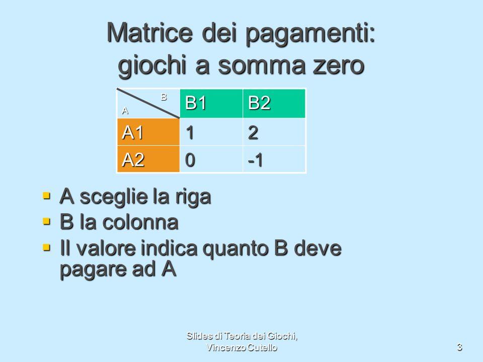 Slides di Teoria dei Giochi, Vincenzo Cutello3 Matrice dei pagamenti: giochi a somma zero A sceglie la riga A sceglie la riga B la colonna B la colonn