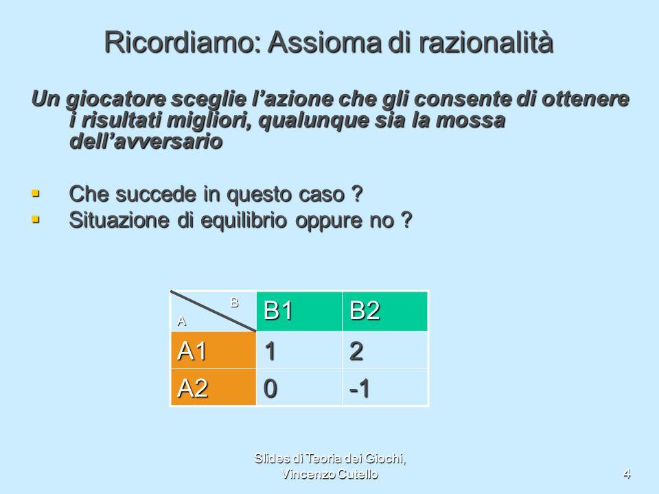 Slides di Teoria dei Giochi, Vincenzo Cutello4 Ricordiamo: Assioma di razionalità Un giocatore sceglie lazione che gli consente di ottenere i risultat