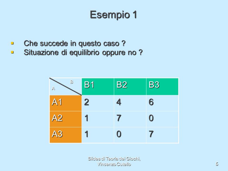 Slides di Teoria dei Giochi, Vincenzo Cutello5 Esempio 1 Che succede in questo caso ? Che succede in questo caso ? Situazione di equilibrio oppure no