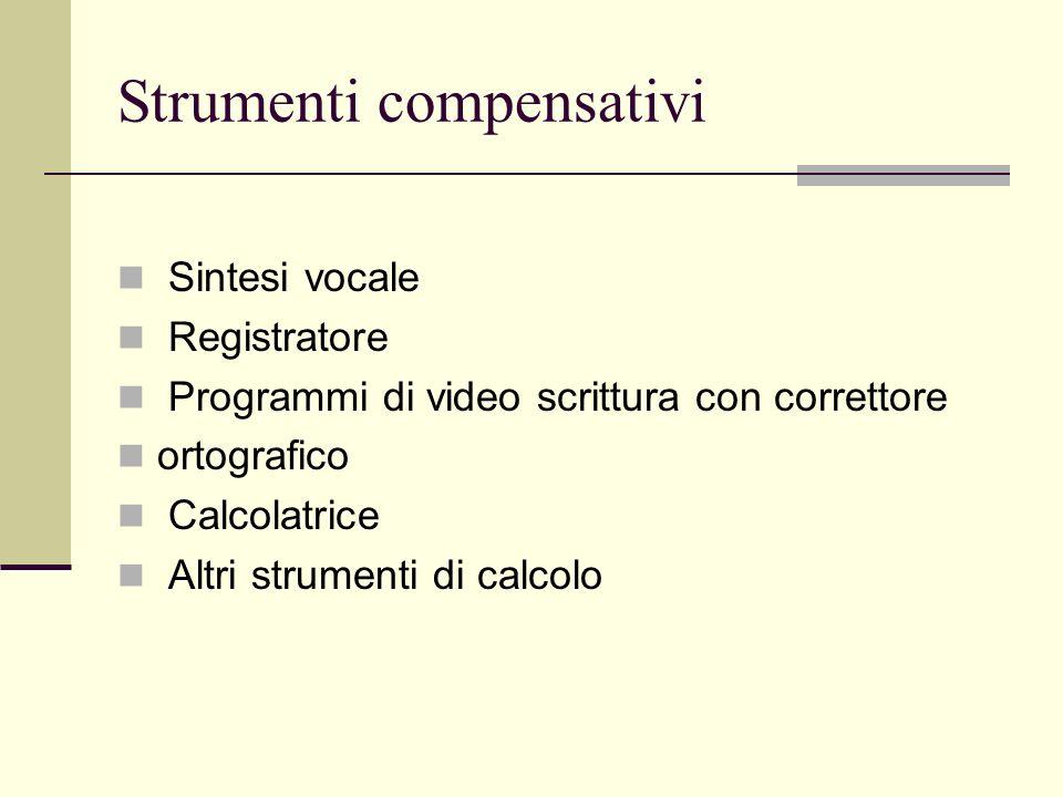 Strumenti compensativi Sintesi vocale Registratore Programmi di video scrittura con correttore ortografico Calcolatrice Altri strumenti di calcolo