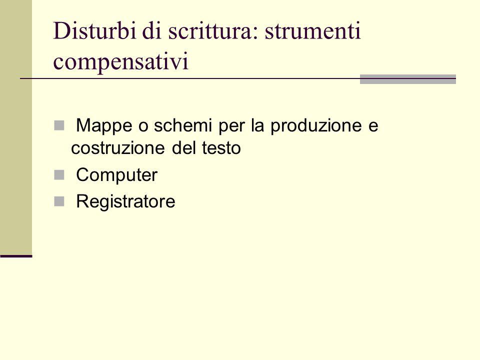 Disturbi di scrittura: strumenti compensativi Mappe o schemi per la produzione e costruzione del testo Computer Registratore