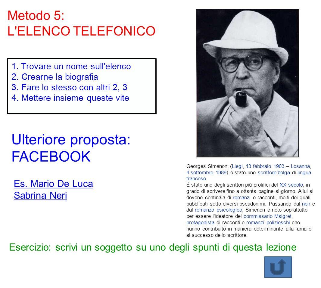 Metodo 5: L'ELENCO TELEFONICO 1. Trovare un nome sull'elenco 2. Crearne la biografia 3. Fare lo stesso con altri 2, 3 4. Mettere insieme queste vite E