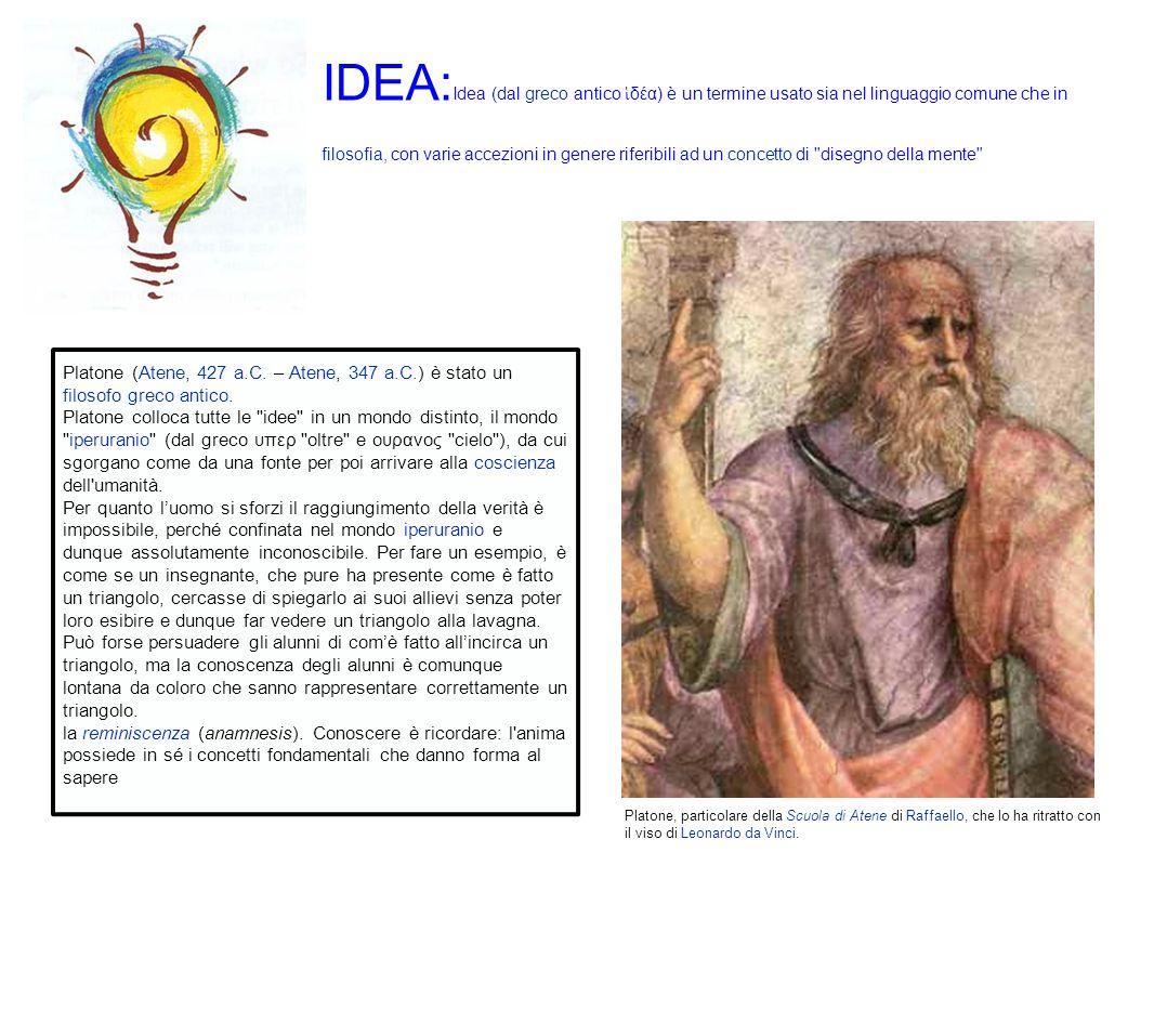 IDEA: Idea (dal greco antico δέα) è un termine usato sia nel linguaggio comune che in filosofia, con varie accezioni in genere riferibili ad un concetto di disegno della mente Platone (Atene, 427 a.C.