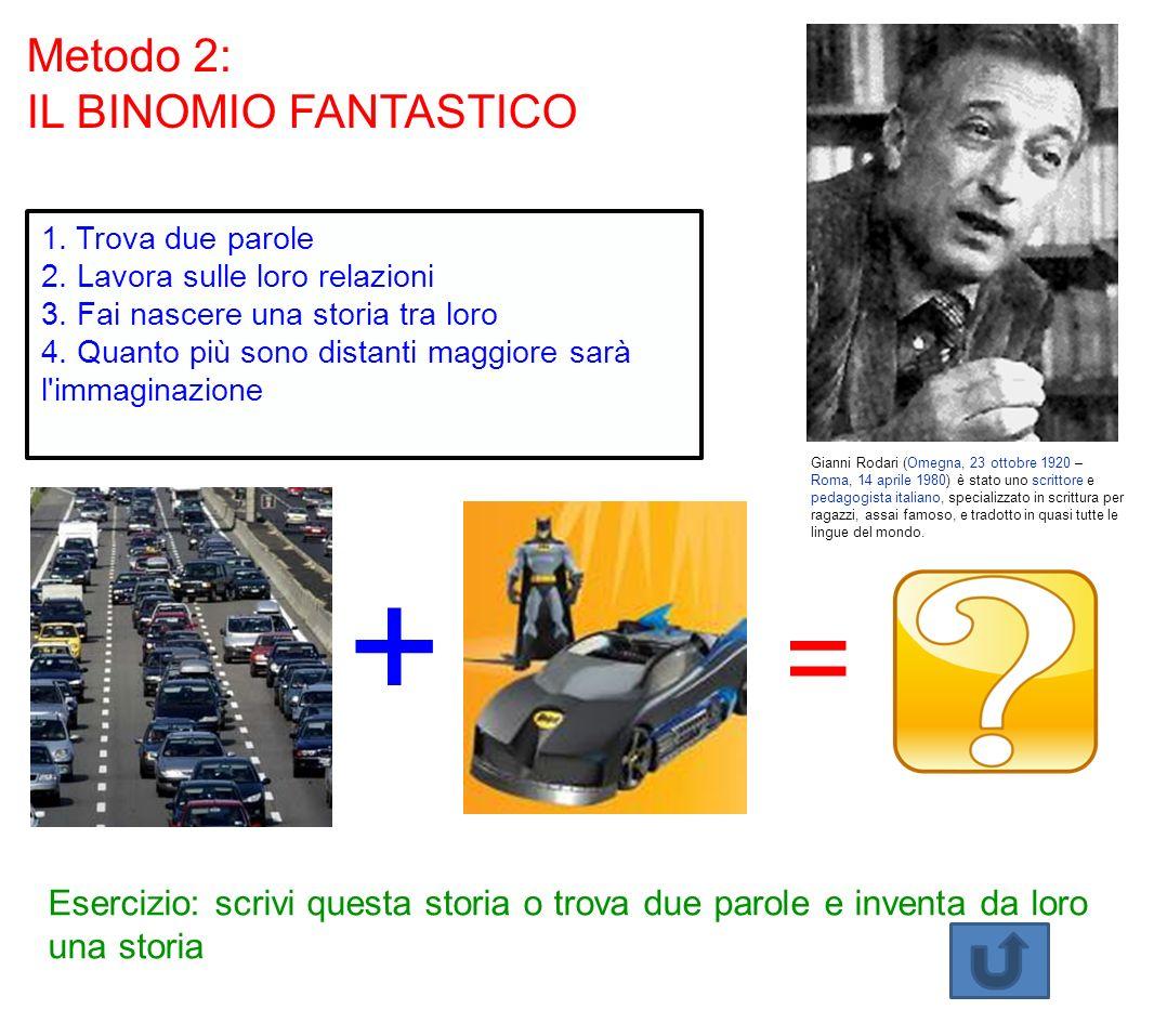 Metodo 2: IL BINOMIO FANTASTICO Gianni Rodari (Omegna, 23 ottobre 1920 – Roma, 14 aprile 1980) è stato uno scrittore e pedagogista italiano, specializzato in scrittura per ragazzi, assai famoso, e tradotto in quasi tutte le lingue del mondo.