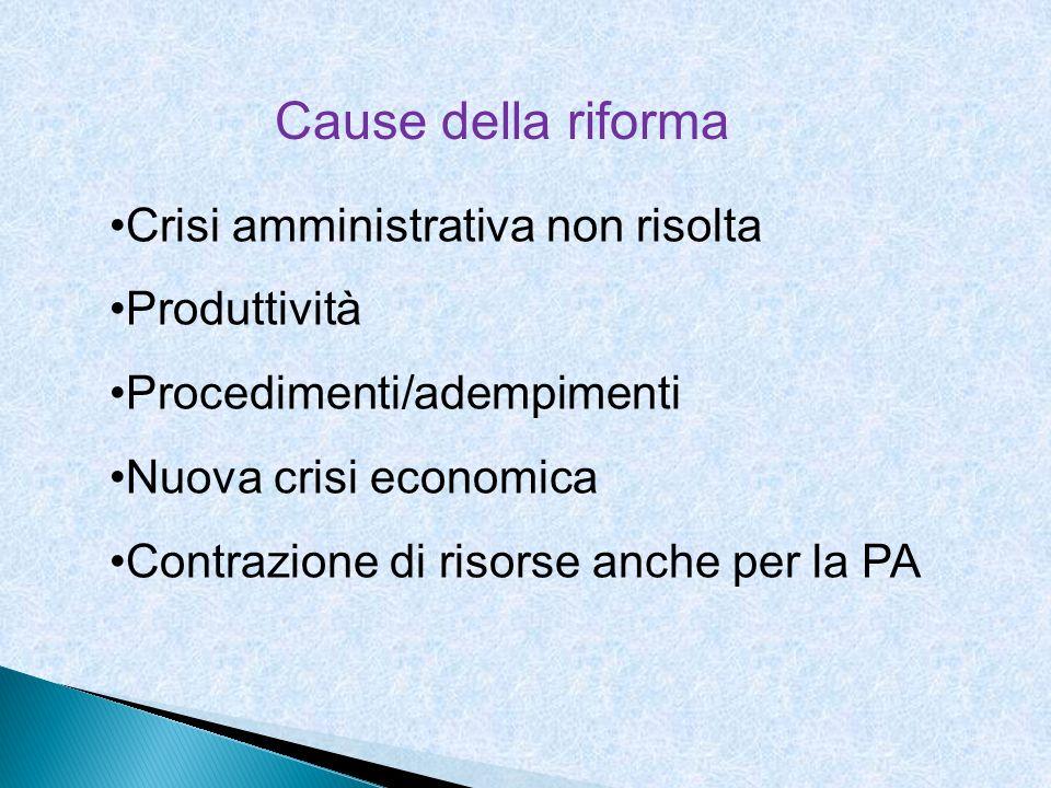 Cause della riforma Crisi amministrativa non risolta Produttività Procedimenti/adempimenti Nuova crisi economica Contrazione di risorse anche per la P