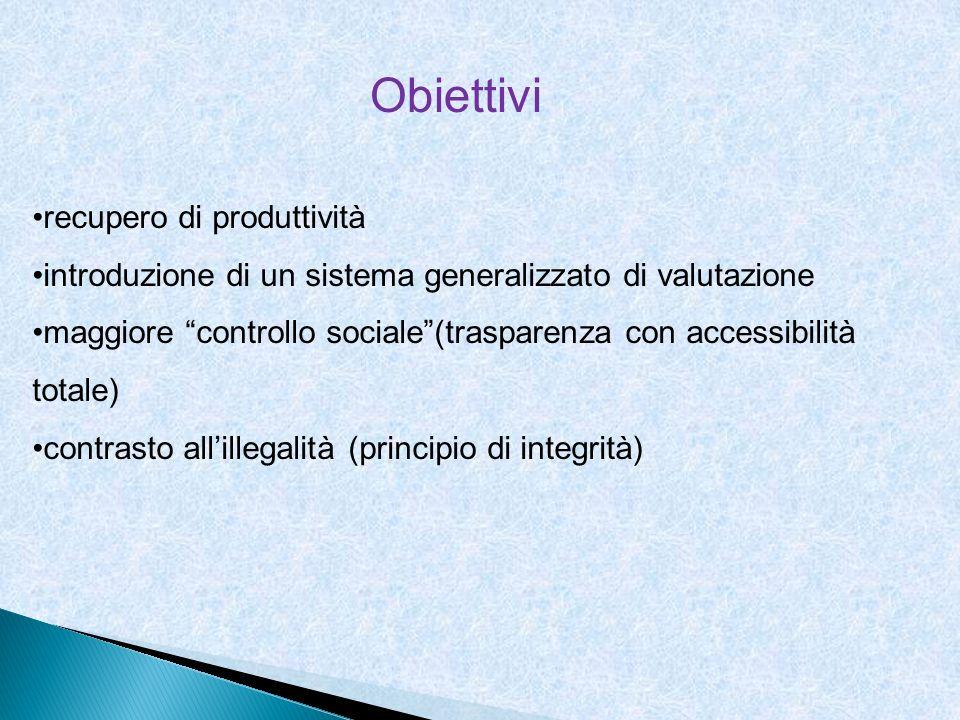 Obiettivi recupero di produttività introduzione di un sistema generalizzato di valutazione maggiore controllo sociale(trasparenza con accessibilità to