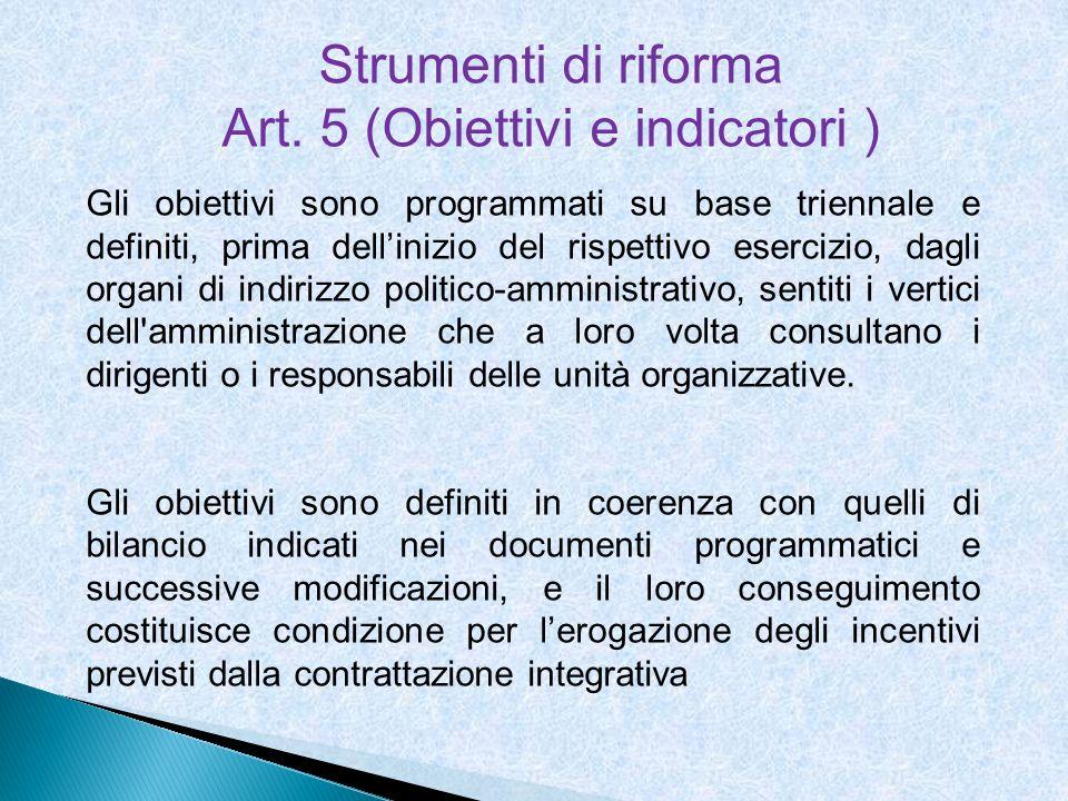 Strumenti di riforma Art. 5 (Obiettivi e indicatori ) Gli obiettivi sono programmati su base triennale e definiti, prima dellinizio del rispettivo ese