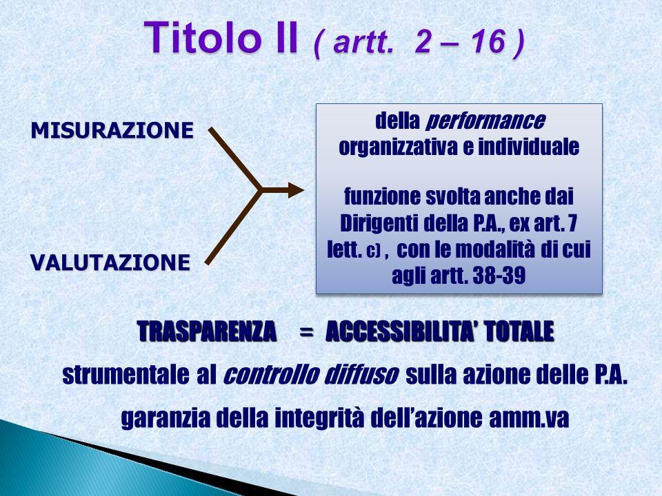 MISURAZIONEVALUTAZIONE della performance organizzativa e individuale funzione svolta anche dai Dirigenti della P.A., ex art. 7 lett. c), con le modali