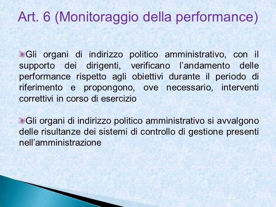Art. 6 (Monitoraggio della performance) Gli organi di indirizzo politico amministrativo, con il supporto dei dirigenti, verificano landamento delle pe
