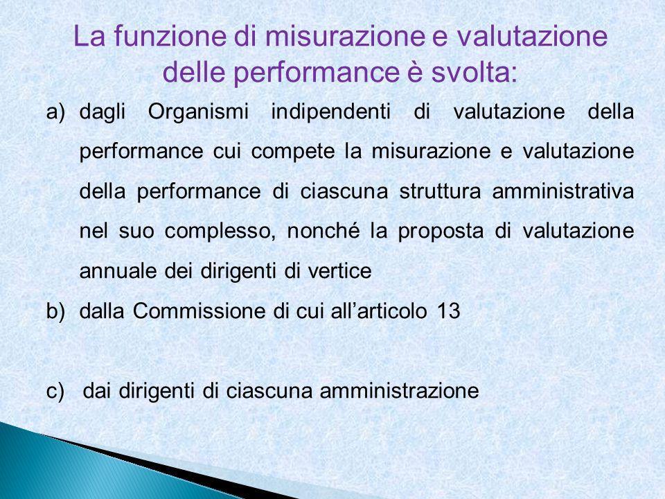 La funzione di misurazione e valutazione delle performance è svolta: a)dagli Organismi indipendenti di valutazione della performance cui compete la mi