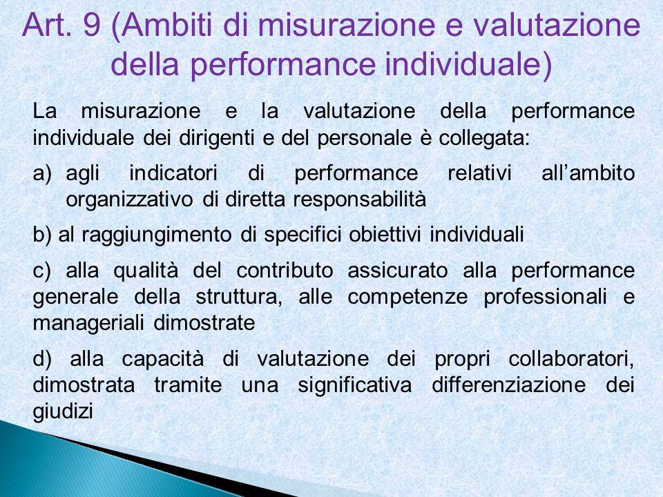 Art. 9 (Ambiti di misurazione e valutazione della performance individuale) La misurazione e la valutazione della performance individuale dei dirigenti