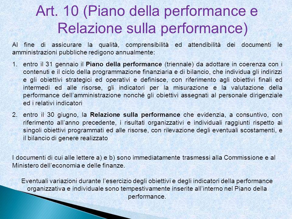 Art. 10 (Piano della performance e Relazione sulla performance) Al fine di assicurare la qualità, comprensibilità ed attendibilità dei documenti le am