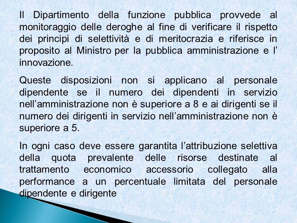 Il Dipartimento della funzione pubblica provvede al monitoraggio delle deroghe al fine di verificare il rispetto dei principi di selettività e di meri